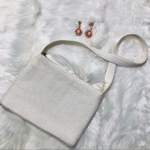 Talbots White Boho Woven Summer shoulder Bag Purse